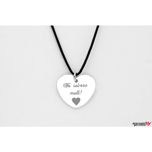 Pandantiv inima 20 mm personalizat gravura text Argint 925 Premium