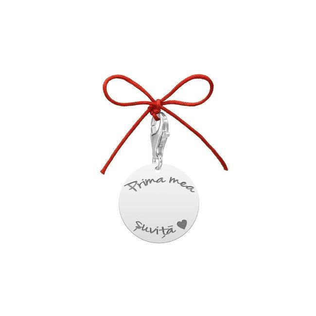 Pandantiv banut botez cristelnita + prima baita personalizat gravura text Argint 925 Premium