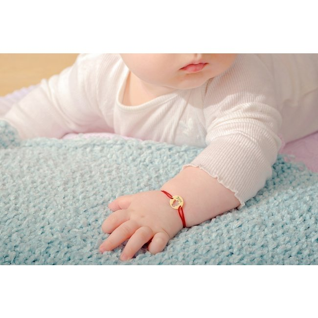 Bratara snur bebe si copil banut ingeras 11 mm personalizat gravura text Aur 14K