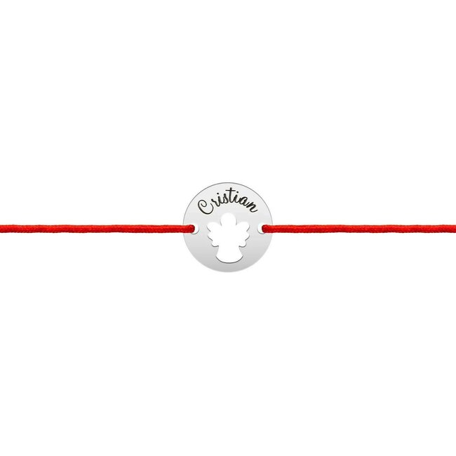 Bratara snur banut ingeras 11 mm personalizat gravura text Argint 925 Premium