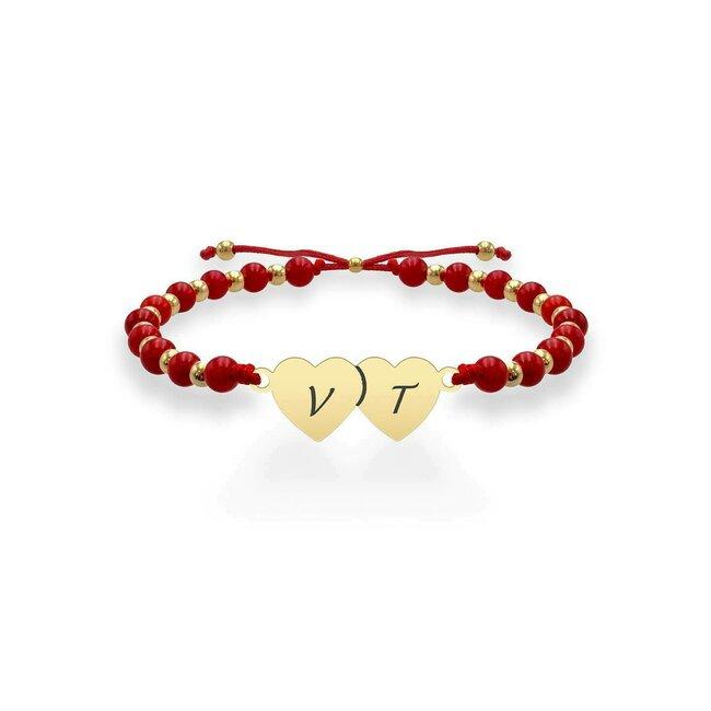 Bratara argint dama bilute coral rosu doua inimi personalizate (20 mm)