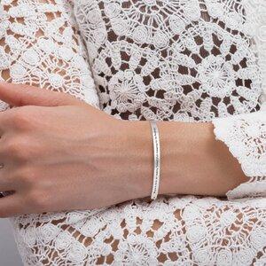Bratara Argint dama, model glisant si placuta personalizata