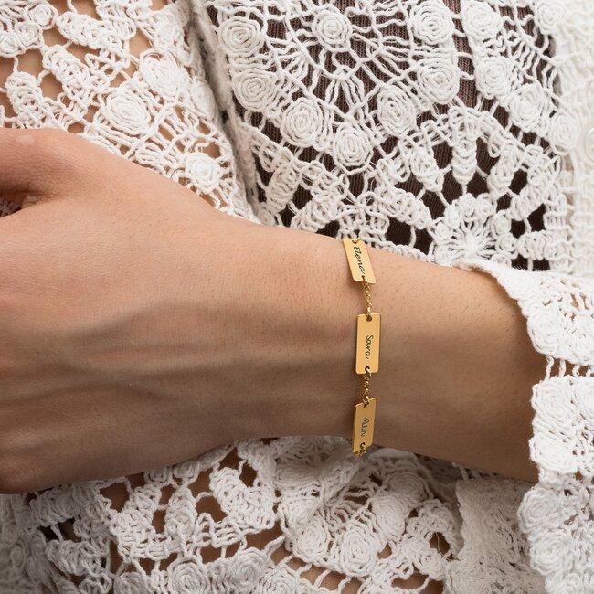 Bratara Argint dama, placata aur galben, tip lant si placute, personalizata (15.5 mm)