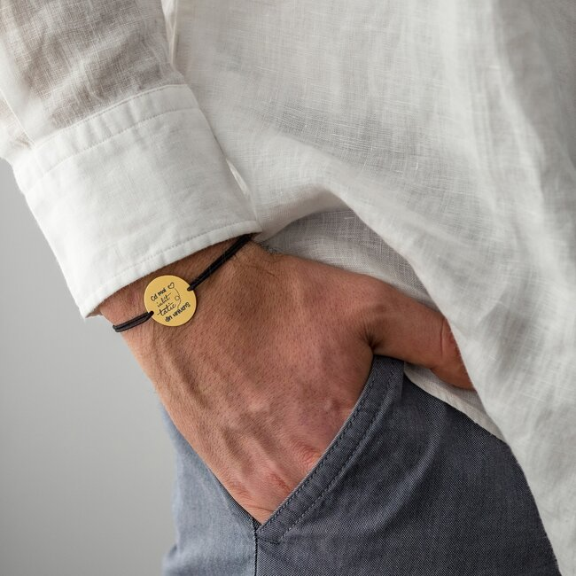 Bratara Argint barbat placat cu aur galben, banut 22 mm, personalizata editie Paste