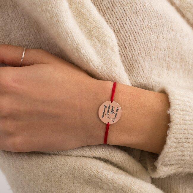 Bratara Argint dama placat cu aur roz, banut 19 mm, personalizata editie Paste