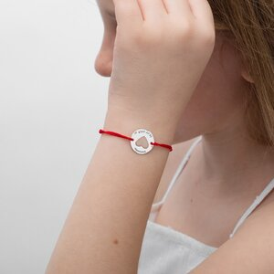 Bratara Aur alb 14K cu snur pentru fetite si adolescente banut inima (14 mm)