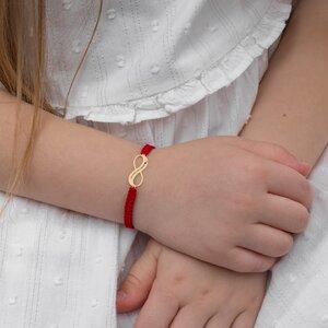 Bratara aur copii, snur rosu impletit si infinit 18 mm, personalizata
