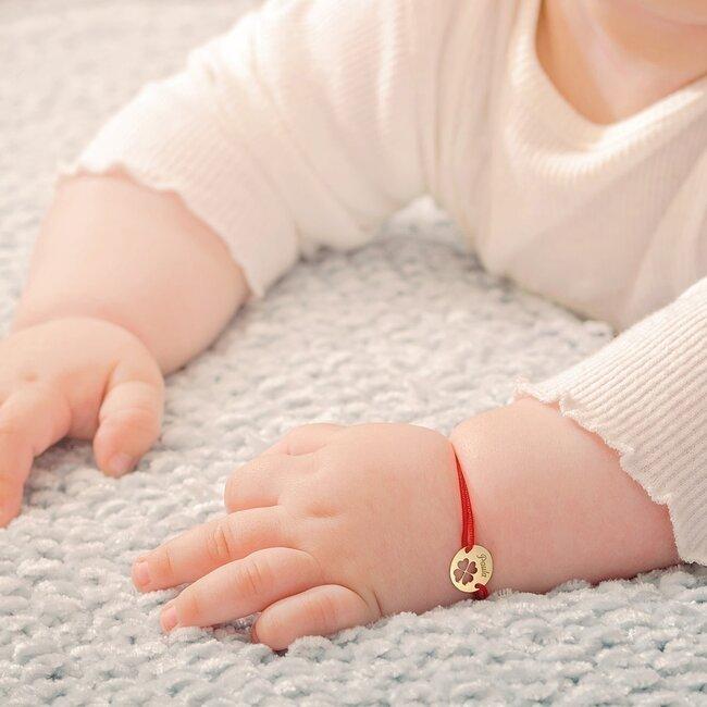 Bratara aur copii, snur si banut trifoi 10 mm, personalizata (Aur alb 14K)
