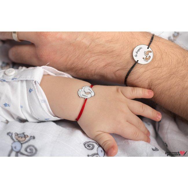 Bratara snur banut talpite bebe 19 mm personalizat gravura text Argint 925 Premium