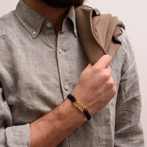 Bratara barbateasca argint dublu infinit personalizat cu piele impletita (34 mm)