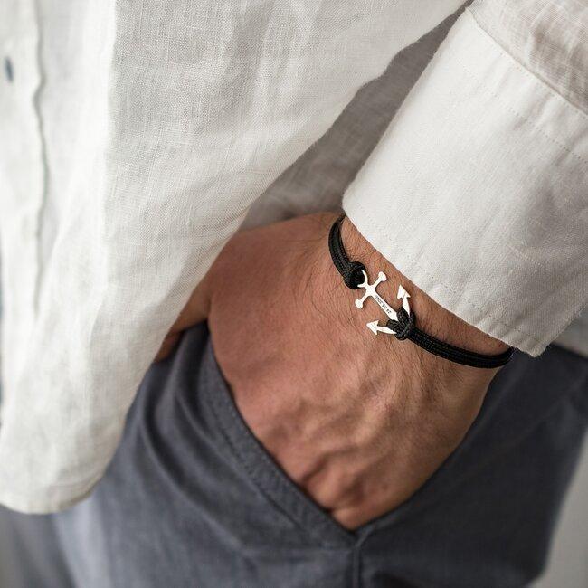 Bratara barbateasca cu snur paracord si ancora Argint, personalizata (24 mm)