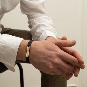 Bratara barbateasca eleganta piele Nappa placuta 33 mm personalizata gravura text Aur 14K (inchizatoare inox)