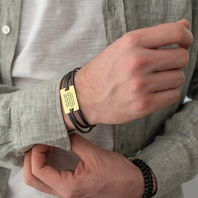 Bratara barbateasca mix piele placuta 28 mm personalizata gravura text Argint 925