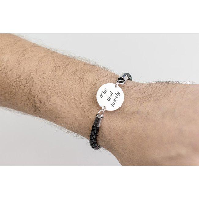 Bratara barbateasca piele banut 22 mm personalizat gravura text Argint 925 rodiat (piele 6 mm si inchizatoare inox)