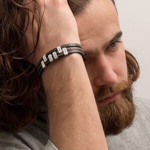 Bratara barbateasca piele cusuta sase placute mobile personalizate gravura text Argint 925 (inchizatoare inox clips)