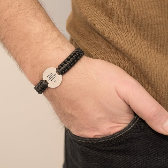 Bratara barbateasca piele impletita manual banut 22 mm personalizat gravura text Aur 14K  (inchizatoare inox negru clips)