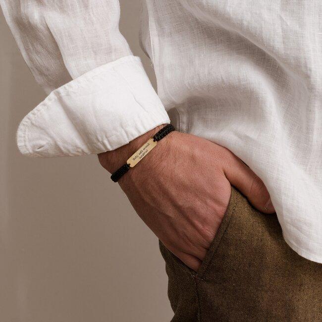 Bratara barbateasca piele impletita manual placuta 33 mm personalizata gravura text Argint 925 (inchizatoare inox clips)