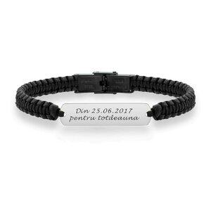Bratara barbateasca piele impletita manual placuta 33 mm personalizata gravura text Aur 14K  (inchizatoare inox negru clips)