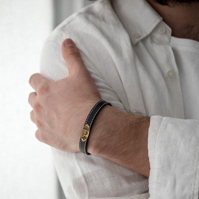 Bratara barbateasca piele lata cusuta oval 22 mm personalizata gravura foto Aur 14K (inchizatoare inox)