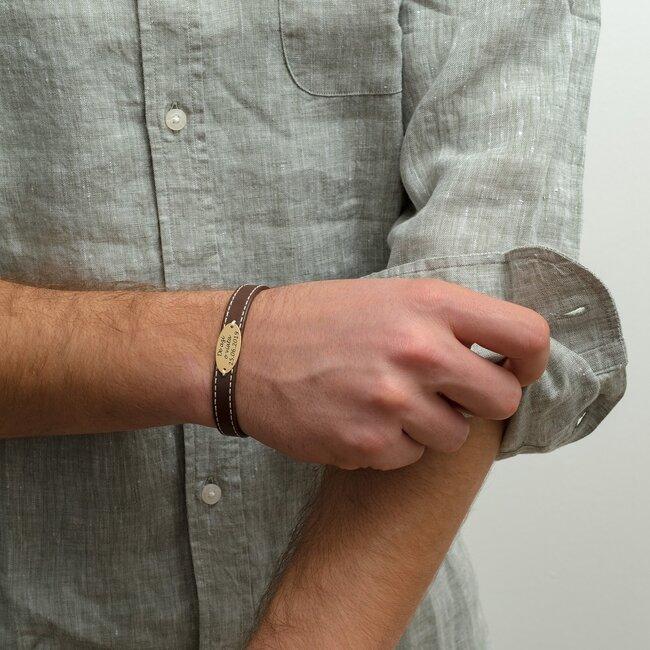 Bratara barbateasca piele lata cusuta oval 22 mm personalizata gravura text Argint 925 (inchizatoare inox clips)