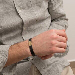 Bratara barbateasca piele lata cusuta oval 22 mm personalizata gravura text Aur 14K (inchizatoare inox)