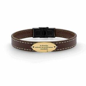 Bratara barbateasca piele lata cusuta oval 22 mm personalizata gravura text Aur 14K (inchizatoare inox negru)