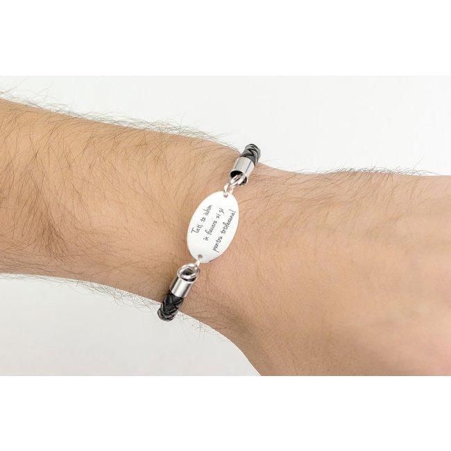 Bratara barbateasca piele oval 25 mm personalizat gravura text Argint 925 rodiat (piele 6 mm si inchizatoare inox)