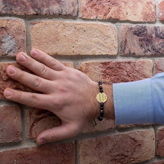 Bratara aur barbat, mix bilute onix si banut, personalizata (20 mm)