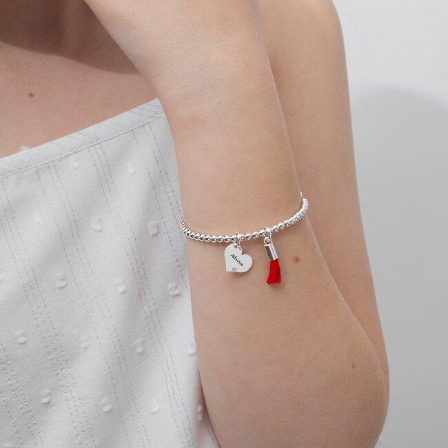 Bratara bilute si inima argint pentru adolescente (12 mm)