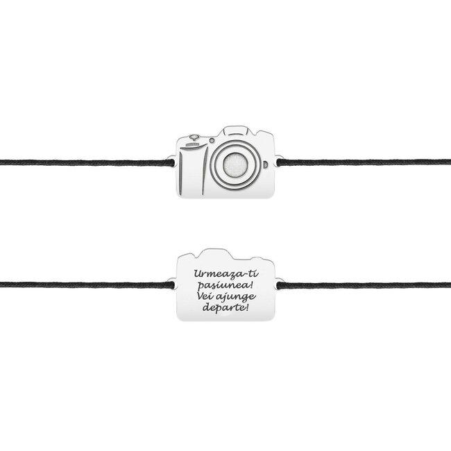 Bratara snur camera foto 17 mm personalizata gravura text Argint 925 Premium