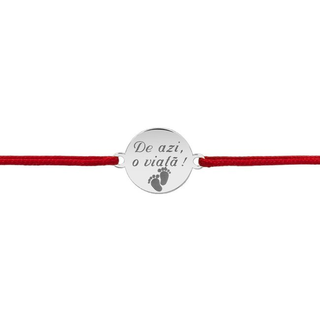 Bratara snur banut anouri 10 mm personalizat gravura text Argint 925 rodiat