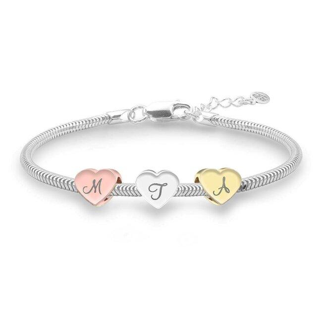 Bratara charms surori/ prietene trei inimi personalizate gravura initiale Argint 925 rodiat