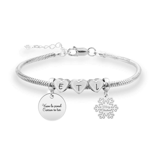 Bratara charms trei inimi cu pandantive fulg de nea 12 mm & banut 17 mm personalizate gravura text Argint 925 rodiat