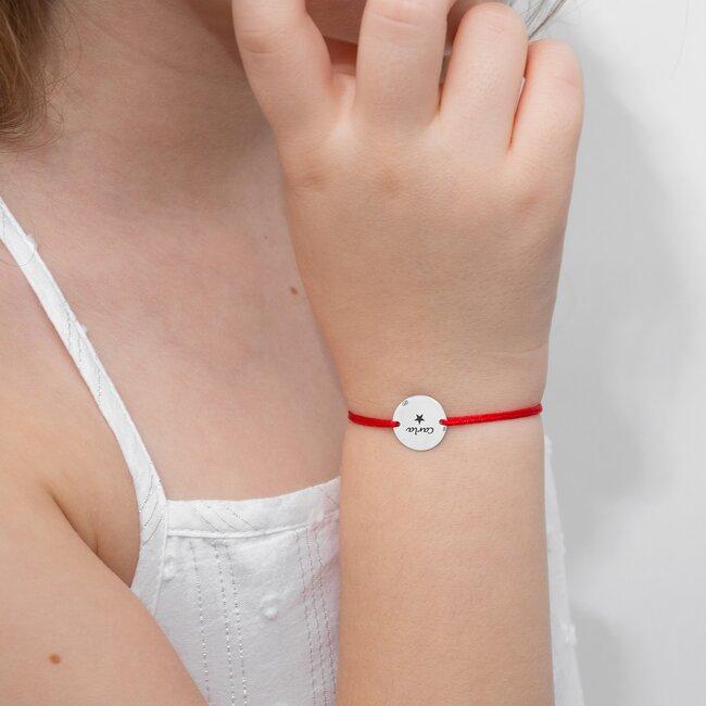 Bratara Aur alb 14K cu snur rosu banut (12 mm)