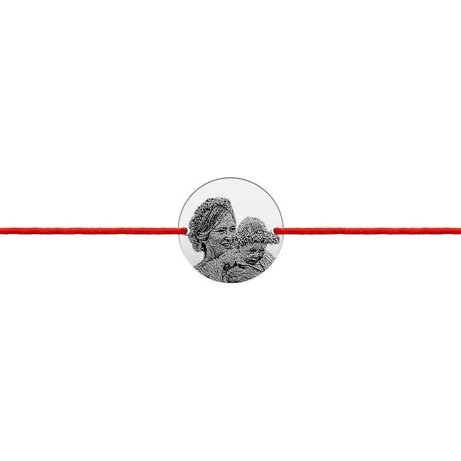 Bratara snur banut 14.5 mm personalizat gravura foto Argint 925 rodiat