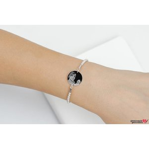 Bratara bilute banut fix 17 mm personalizat gravura foto Argint 925 Premium