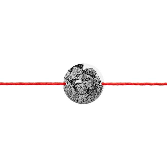 Bratara snur unisex banut 17 mm personalizat gravura foto Argint 925 Premium