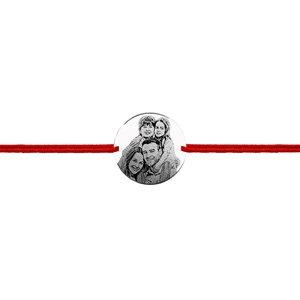 Bratara snur unisex banut 19 mm personalizat gravura foto Argint 925 Premium