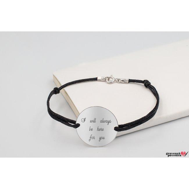 Bratara snur gros banut 22 mm personalizat gravura text Argint 925 rodiat (cu carabina)