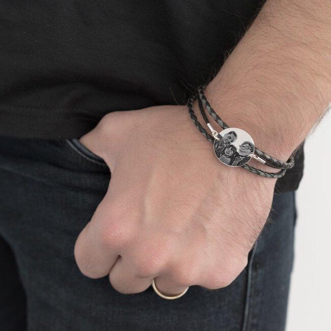 Bratara barbateasca mix piele banut 22 mm personalizat gravura foto Argint 925 Premium