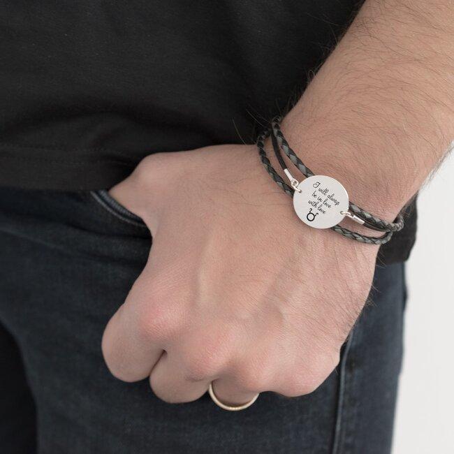 Bratara barbateasca mix piele banut 22 mm personalizat gravura text Argint 925 rodiat