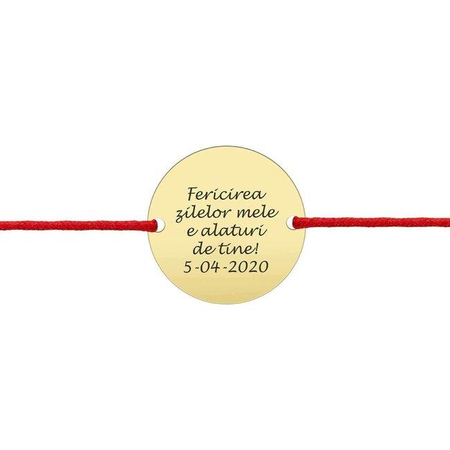 Bratara snur unisex banut 20 mm personalizat gravura text Aur 14K