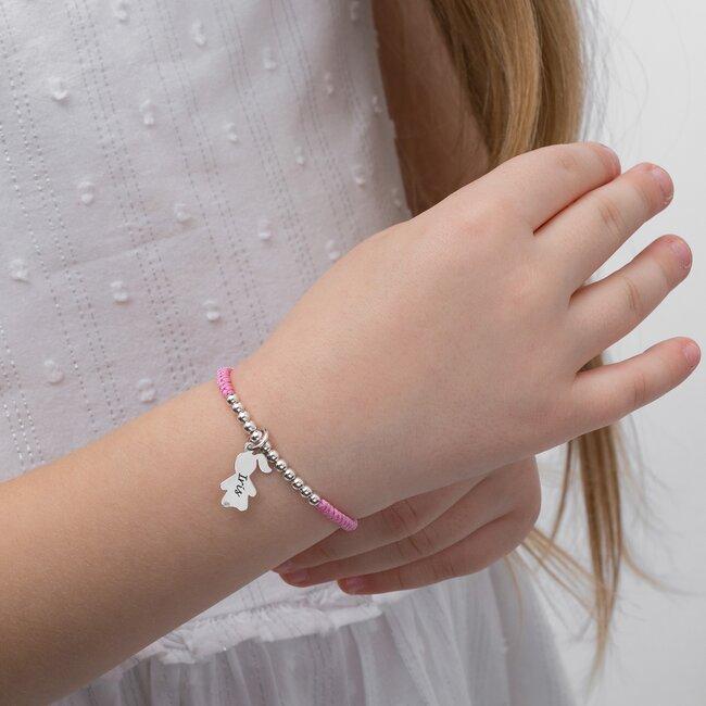 Bratara copii cu snur impletit tubular, bilute si fetita Argint, personalizata (15 mm)