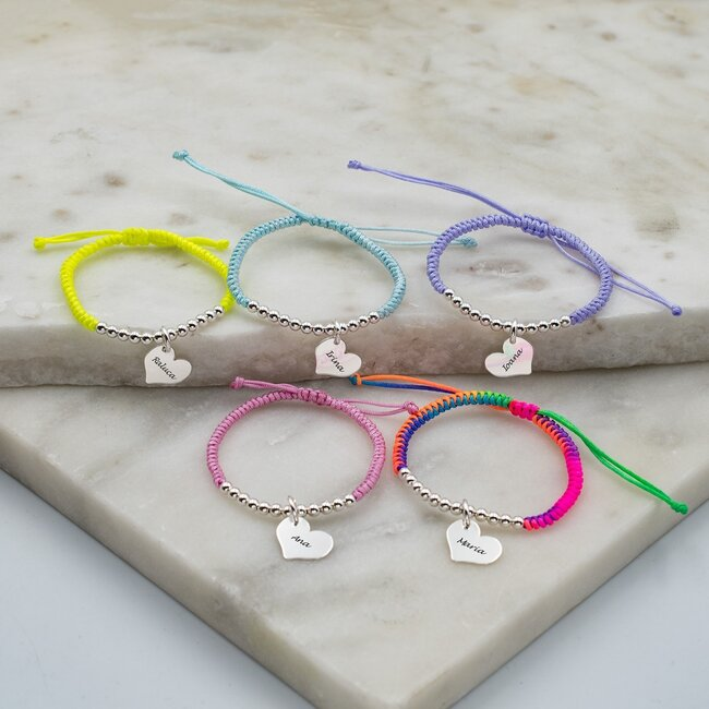 Bratara copii cu snur impletit tubular, bilute si inima Argint, personalizata (12 mm)