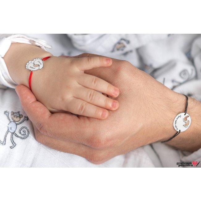 Bratara snur talpite bebe 17 mm personalizate gravura text Aur alb 14K