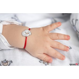 Bratara snur talpite bebe 17 mm personalizate gravura text Argint 925 Premium