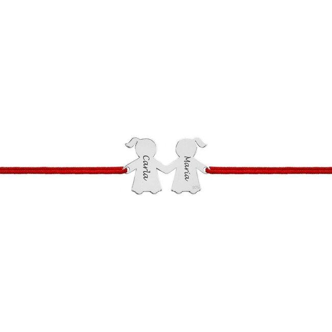 Bratara Argint, doua prietene, personalizata (20 mm)