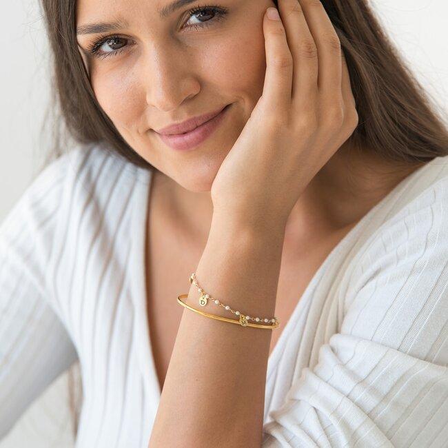 Bratara fixa rotunda cu lant tip salba banuti 6 mm personalizati gravura initiale Argint 925 rodiat (lantisor tip rozariu alb/ albastru deschis/ rosu)