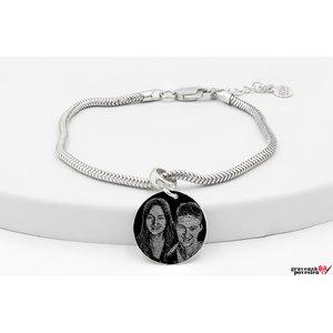 Bratara charms pandantiv banut 17 mm personalizat gravura foto Argint 925 Premium