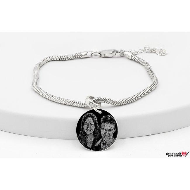 Bratara charms pandantiv banut 17 mm personalizat gravura foto Argint 925 rodiat
